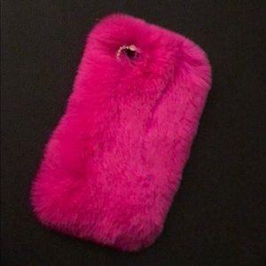 Velvet Caviar Hot Pink Fur Case for IPhone 8/7